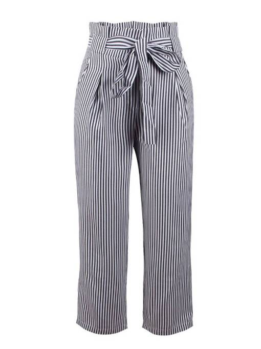 Black and White Stripe Lace-Up Women's Casual Pants
