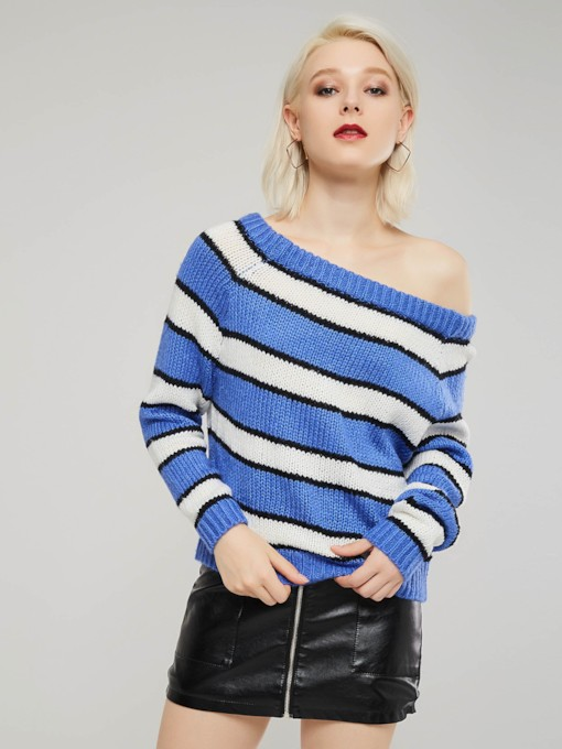 Slash Neck Backless Stripe Color Block Women's Sweater