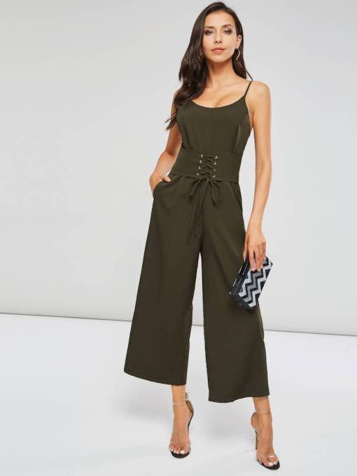Strap Wide Legs Loose Lace-Up Women's Jumpsuit