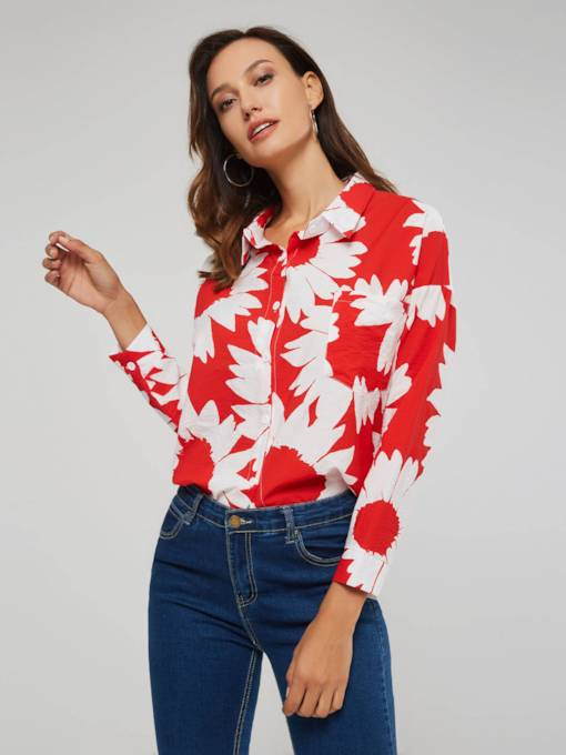 Floral Print Single-Breasted Lapel Women's Shirt