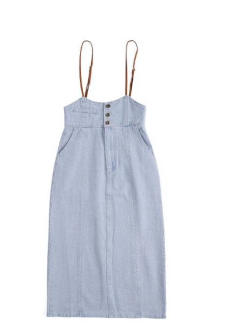 Preppy Button Strap Denim Women's Skirt