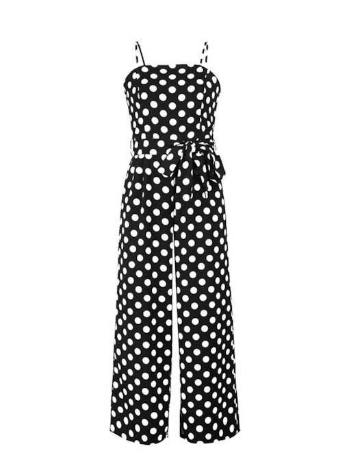 Polka Dots Color Block Lace-Up Strap Women's Jumpsuit