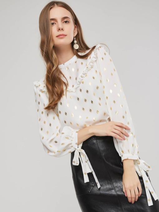 Chiffon Polka Dots Lace-Up Women's Blouse