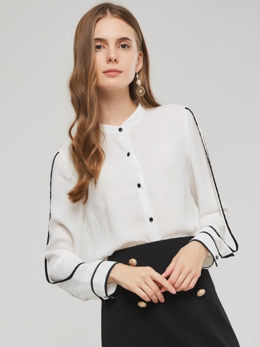 Chiffon Stand Collar Single-Breasted Women's Blouse