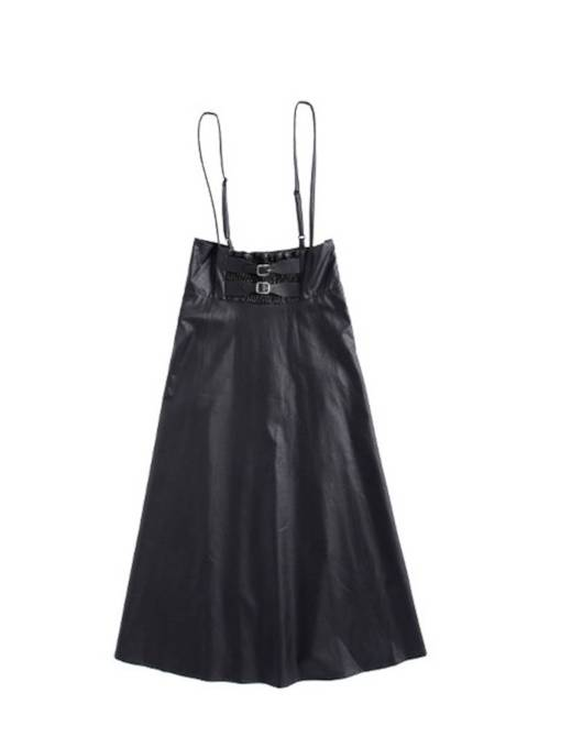 Plain A Line Button Women's PU Skirt