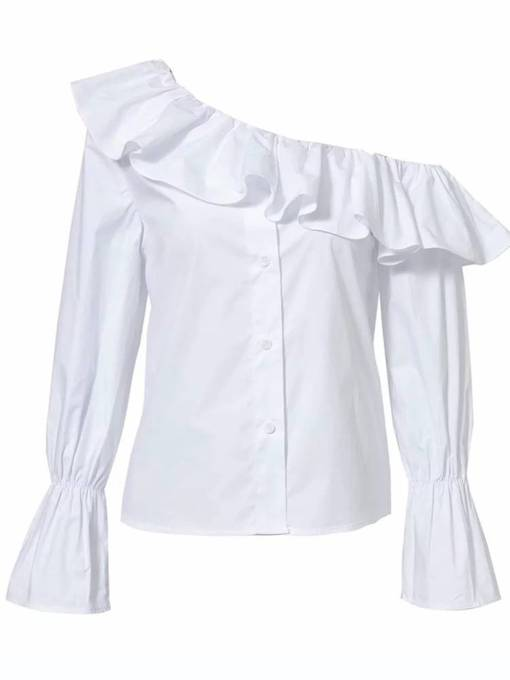 One Shoulder Off Ruffle Flare Sleeve Women's Blouse