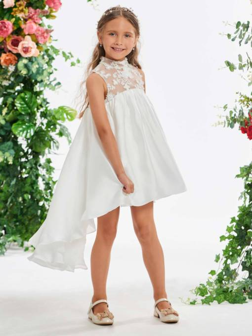 High Neck Lace High Low Beach Flower Girl Dress