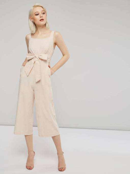 Square Neck Bowknot Wide Legs Women's Jumpsuit