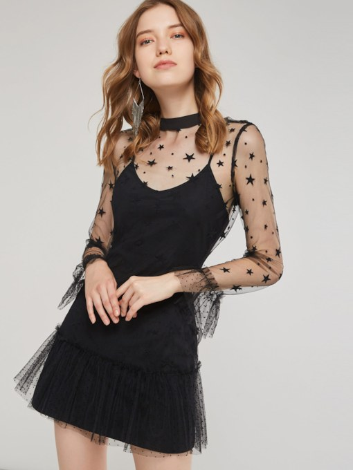 Long Sleeve Polka Dots Mesh Women's Party Dress