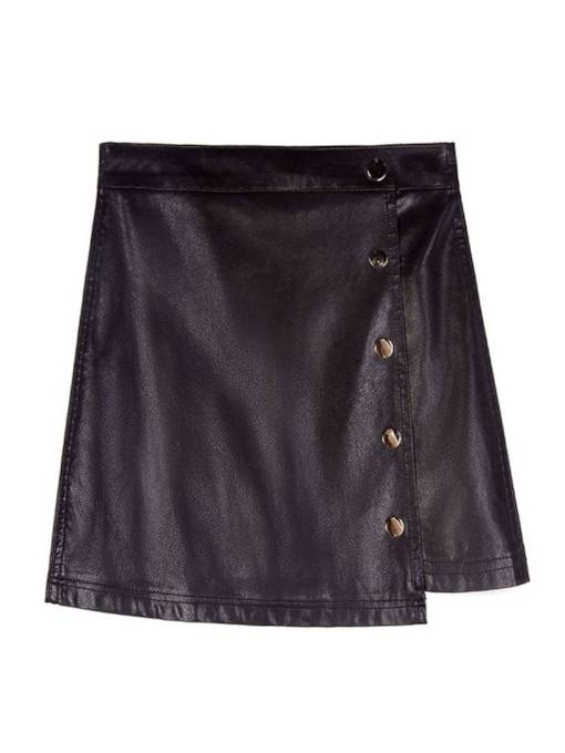 Asymmetric Split Button PU Women's Mini Skirt