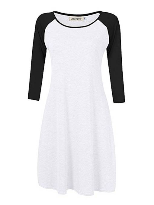 3/4 Length Sleeves Color Block Women's Day Dress