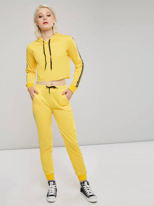 Drawstring Stripe Sporty Hoodie and Pants Women's Two Piece Set