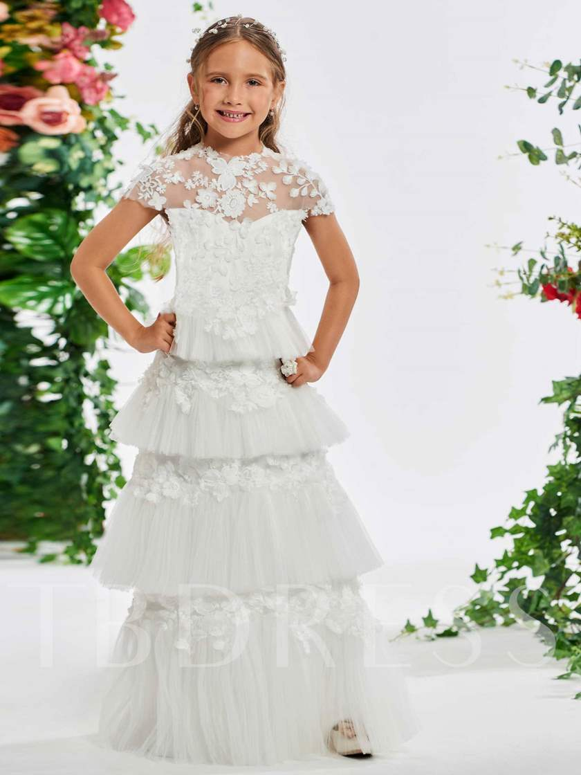 Cap Sleeve Tiered Appliques Flower Girl Dress Tbdress