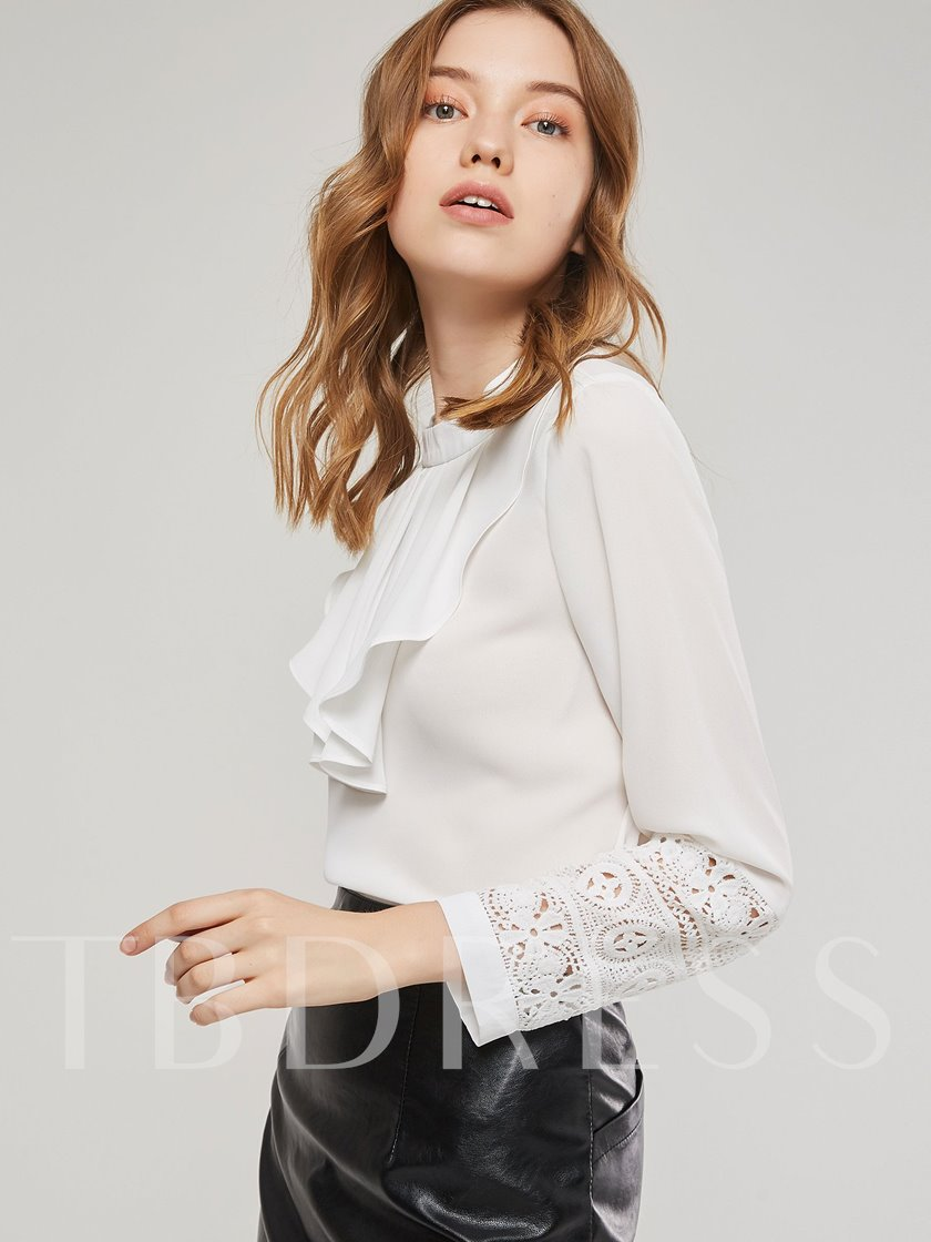 Slim Stand Collar Lace Patchwork Women's Blouse