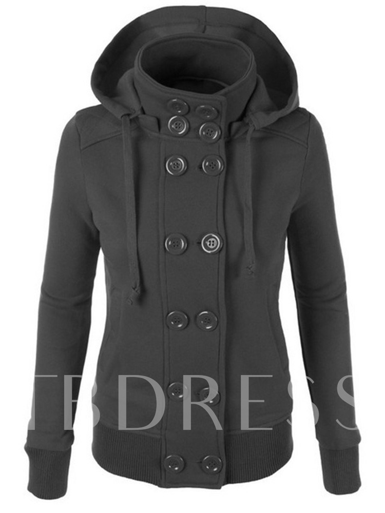Double-Breasted Drawstring Brushed Women's Hoodie