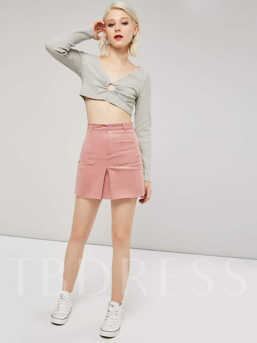 Deep V Neck Flare Sleeve Hollow Women's Cropped T-Shirt