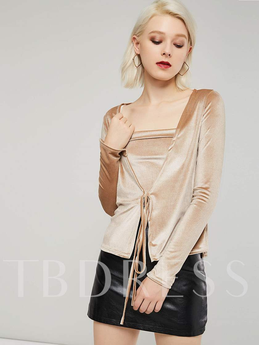 Wrapped Two-Piece Velvet Sexy Women's Blouse