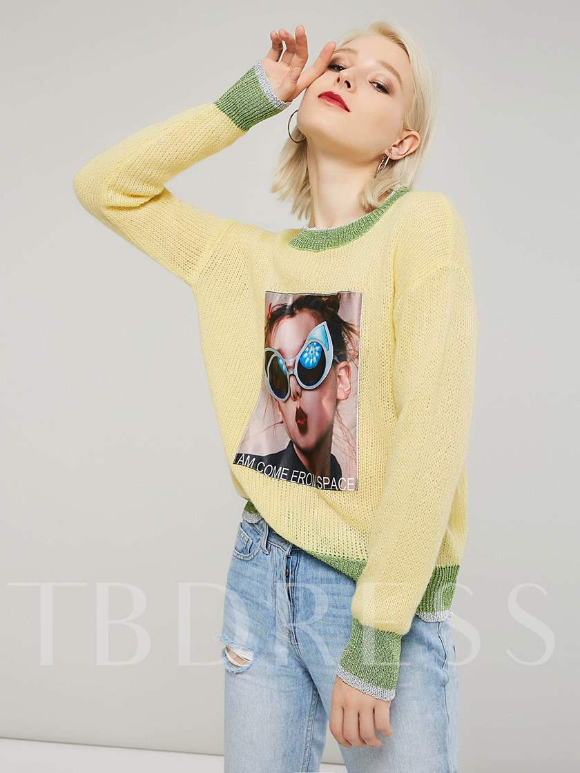 Character Print Round Neck Color Block Women's Sweater