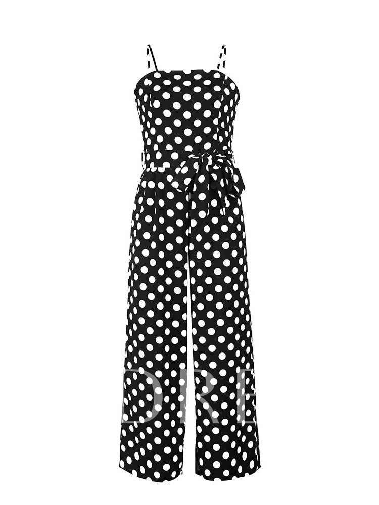 Buy Polka Dots Color Block Lace-Up Strap Women's Jumpsuit, Summer, 13419248 for $11.40 in TBDress store