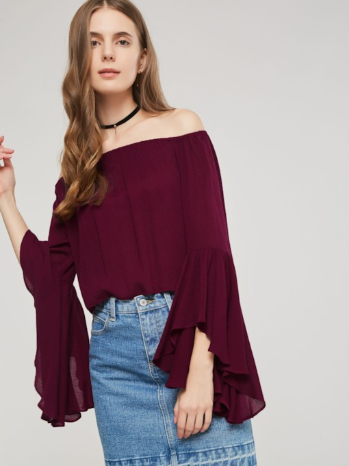 Slash Neck Flare Sleeve Backless Women's Blouse