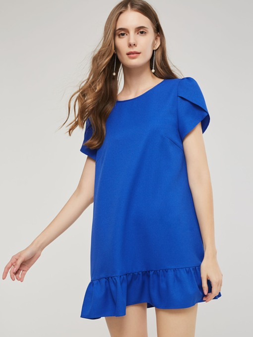 Short Sleeves Falbala Pleated Women's Day Dress
