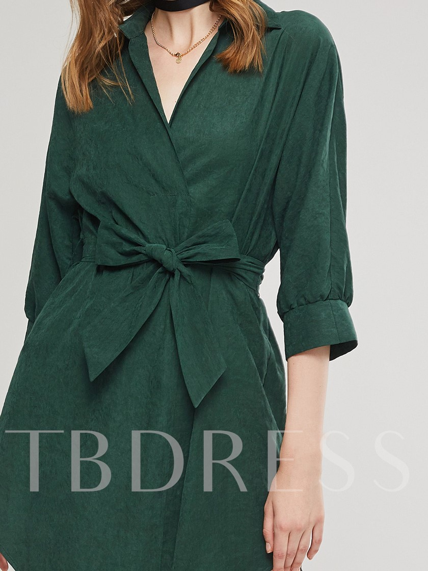 Lace Up Bowknot Polo Neck Women's Day Dress