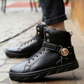 Lace-Up Round Toe High Top Trendy Men's Sneakers