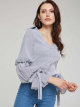 Puff Sleeve Lace Up Single-Breasted Women's Shirt
