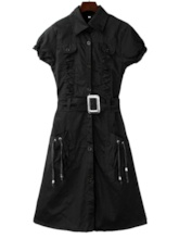 Short Sleeves Single-Breasted Women's Day Dress