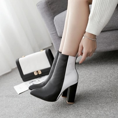 Pointed Toe Side Zipper Color Block Chunky Heel Womens Ankle Boots