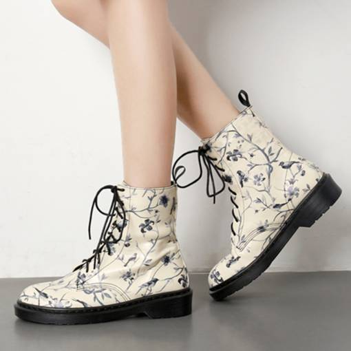 Round Toe Lace-Up Front Block Heel Plant Printed Sewing Martin Boots