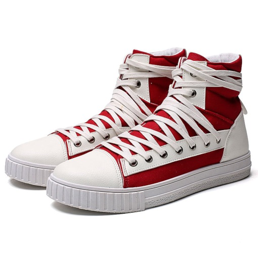 Canvas Lace-Up Round Toe Patchwork High Top Men's Sneakers