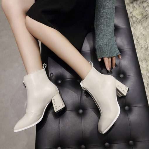 Square Toe Front Zipper Chunky Heel Plain Women's Ankle Boots