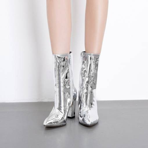 Pointed Toe Side Zipper Chunky Heel Sparkly Metallic Ankle Boots