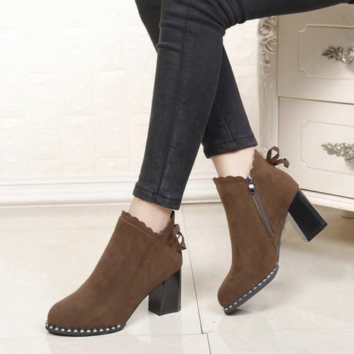 Suede Round Toe Side Zipper Bowknot Rivet Chunky Heel Ankle Boots