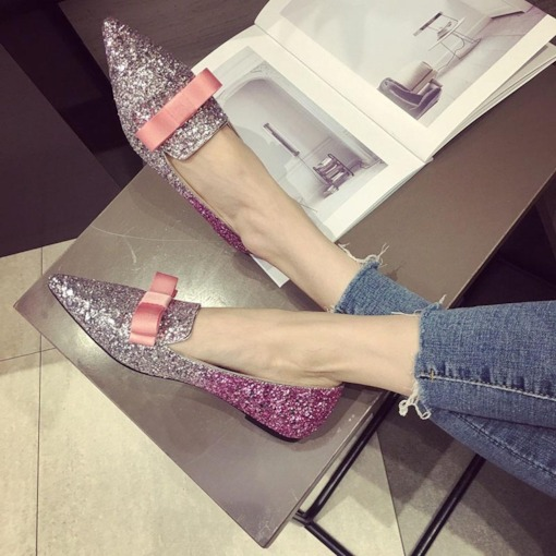Glitter Slip-On Bowknot Pointed Toe Women's Flats