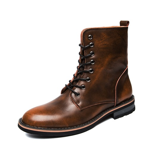 Round Toe Lace-Up Front Thread Brush Off Vintage Men's Martin Boots