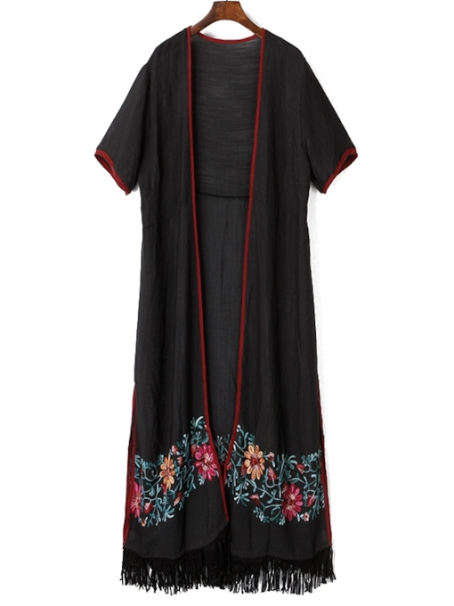 Tassel Embroidery Short Sleeves Women's Maxi Dress