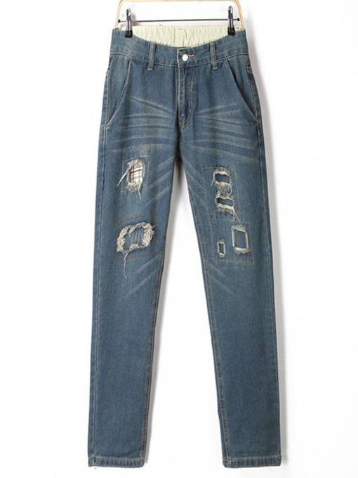 Mid Waist Button Hole Women's Jeans