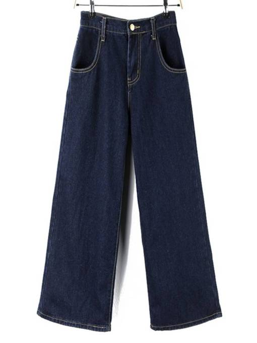 Casual One Button Wide Legs Women's Jeans