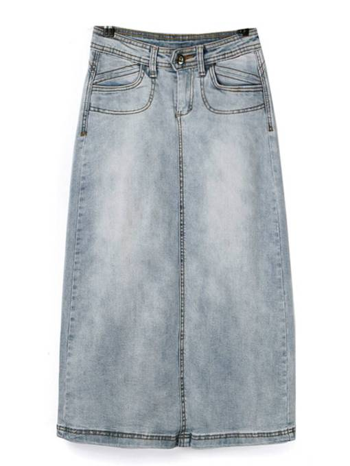 Mid-Calf A Line Bodycon Women's Denim Skirt
