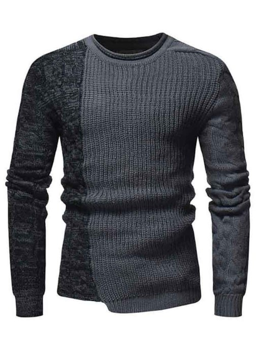 Slim Round Neckline Patchwork Men's Sweater