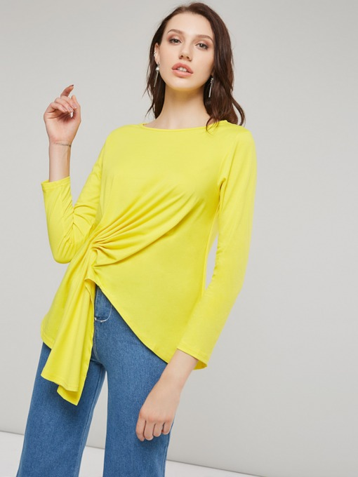 Asymmteric Hem Ruched Solid Color Women's T-Shirt