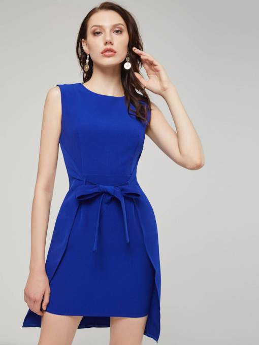 Blue leeveless Lace-Up Women's Day Dress