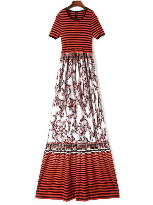 Stripe Floral Short Sleeves Women's Maxi Dress