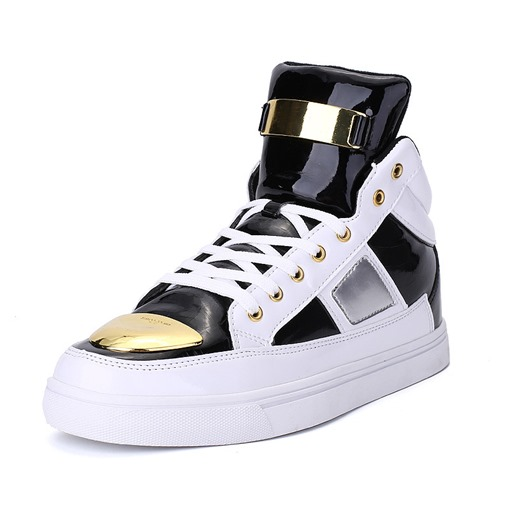 Color Block Lace-Up Round Toe Flat High Top Men's Sneakers