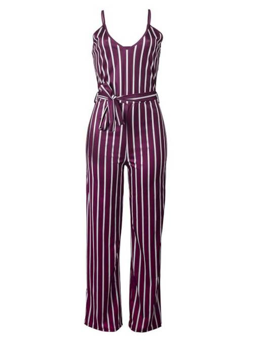 Stripe Lace-Up Wide Legs Strap Women's Jumpsuit