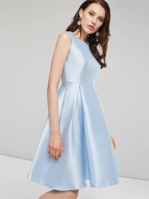 Light Blue Sleeveless Women's Day Dress