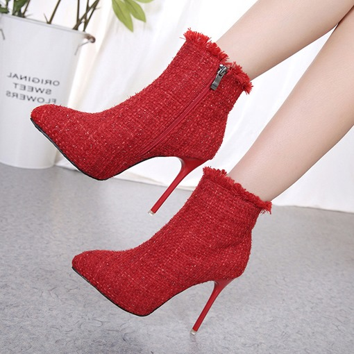 Pointed Toe Side Zipper Stiletto Heel Exquisite Women's Ankle Boots