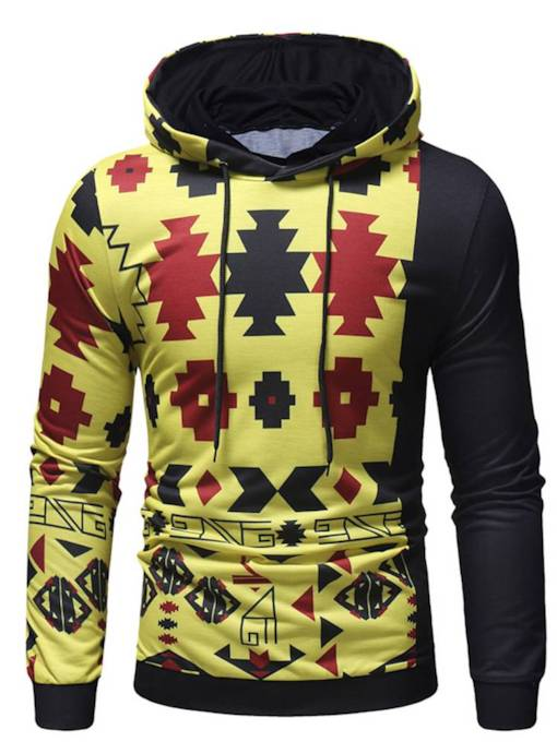 Loose Pullover Color Block Geometric Print Thin Men's Hoodie